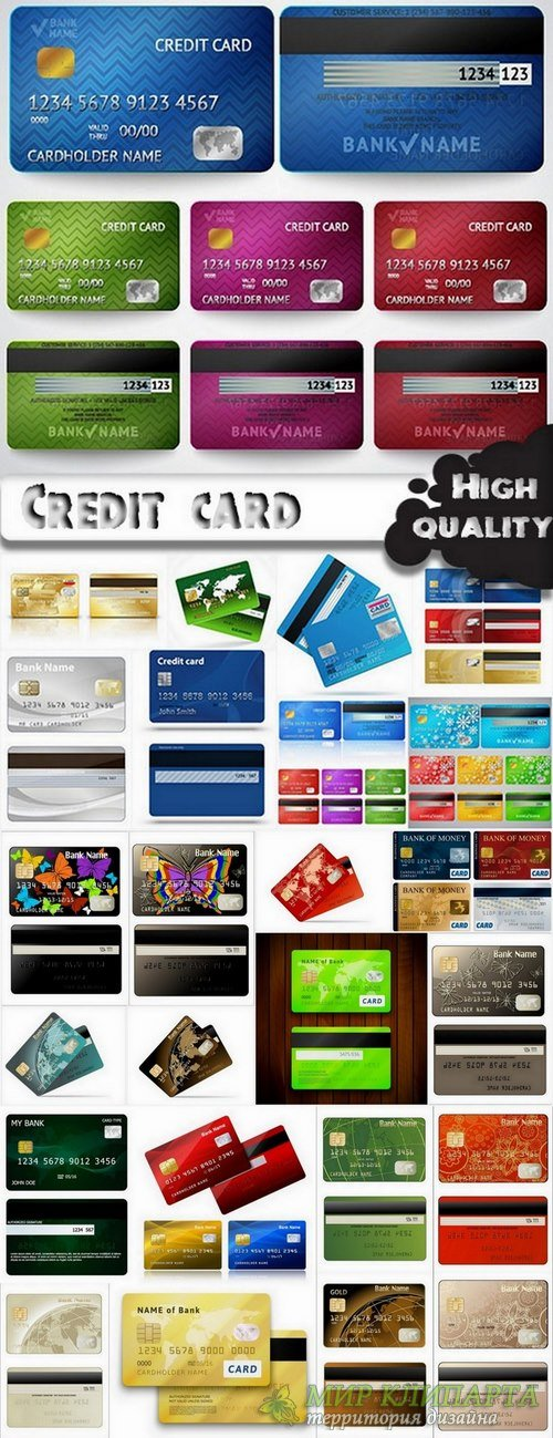 Credit card template design in vector from stock - 25 Eps