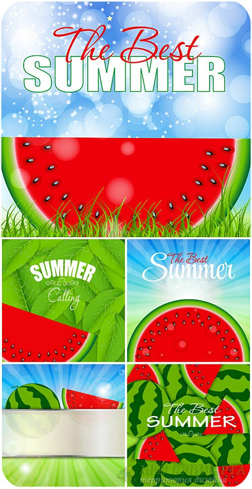 Летние векторные фоны с арбузом / Summer vector background with watermelon