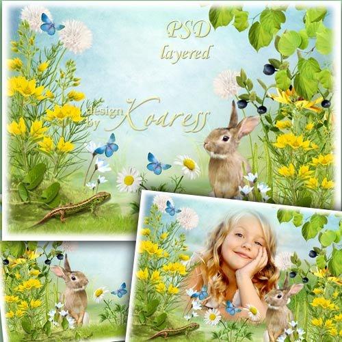 Летняя рамка для фото с полевыми цветами, зайчиком и ящерицей - Серый зайка ...