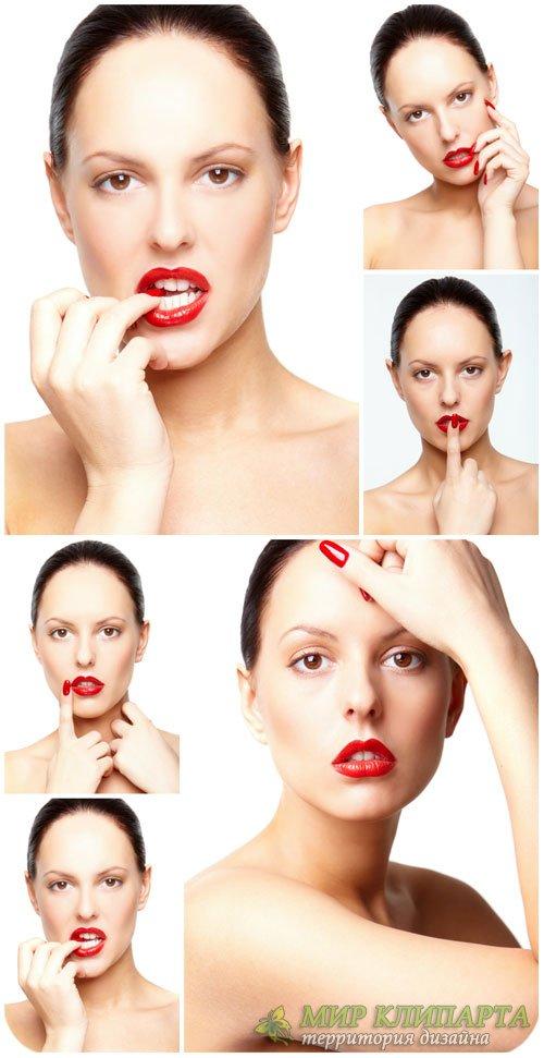 Девушка с красной помадой / Girl with red lipstick - Stock photo