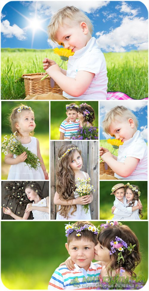 Маленькие дети с цветами / Small children with flowers, nature - Stock Phot ...