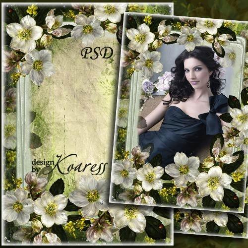 Романтичная рамка для фотошопа - Белые цветы на старинном фото