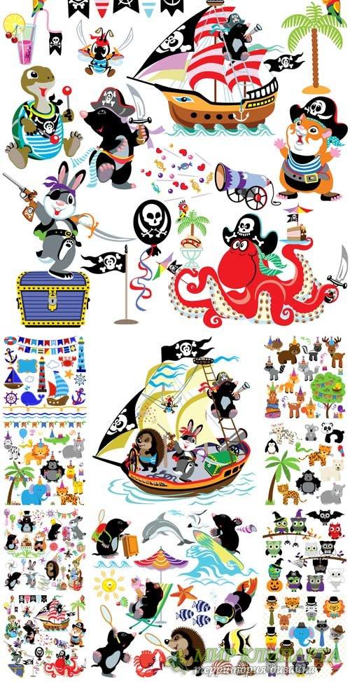 Мультяшные животные, детский вектор / Cartoon animals, children vector