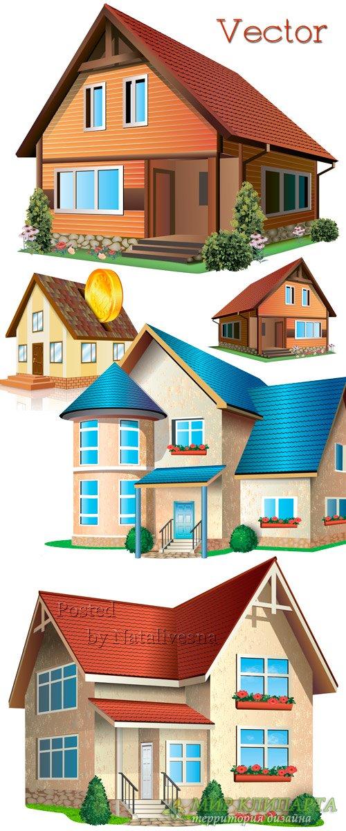 Красивые домики с декоративными цветами для дизайна в Векторе