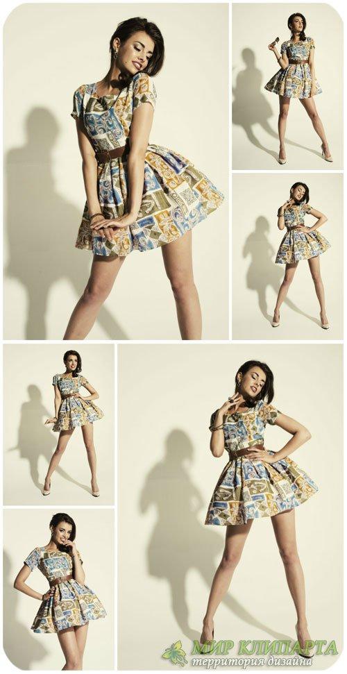 Девушка в платье в стиле ретро / Girl in a dress in retro style - Stock Pho ...