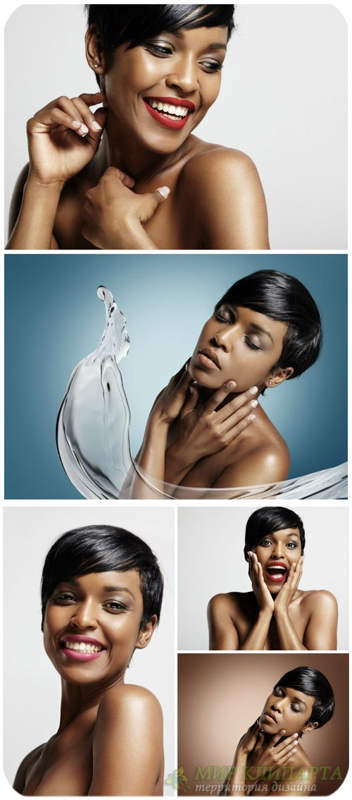 Красивая темнокожая девушка / Beautiful dark-skinned woman - Stock Photo