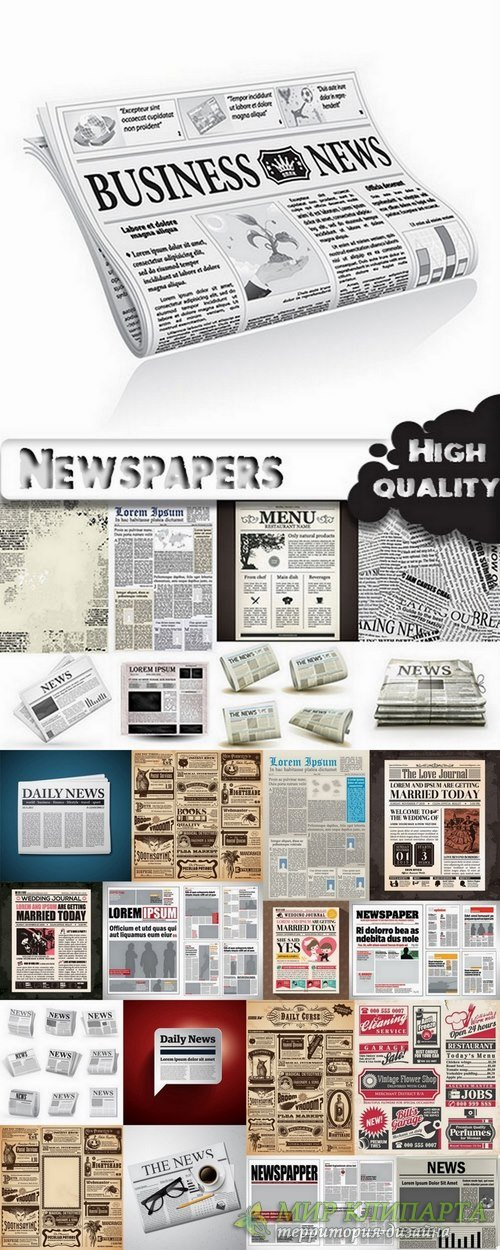 Newspapers template in vector from stock - 25 Eps