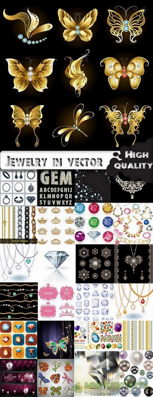 Jewelry in vector from stock - 25 Eps