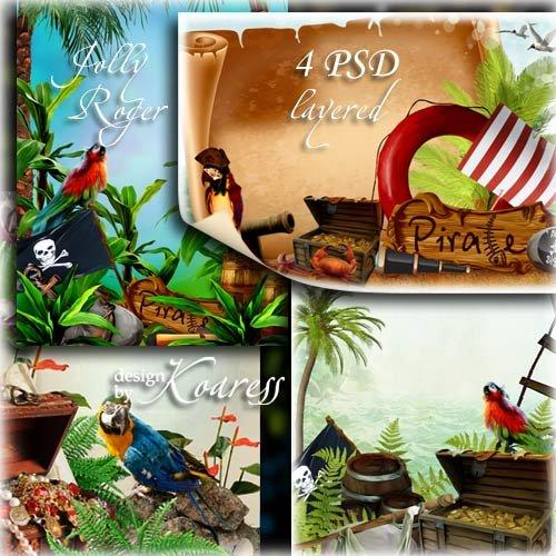 Набор детских многослойных psd рамок с попугаями, пиратскими сокровищами, п ...