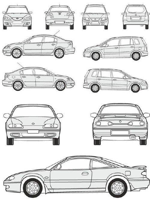 Автомобили Mazda - векторные отрисовки в масштабе