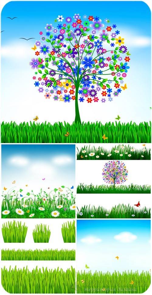Природа в векторе, трава и деревья / Nature vector, grass and trees
