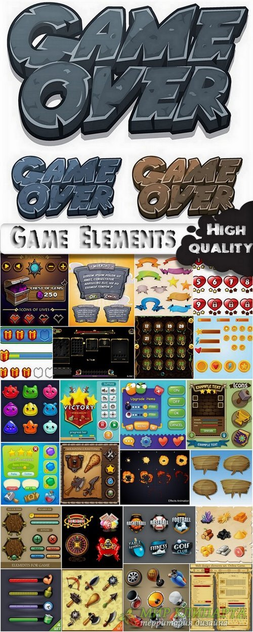 Game design elements in vector from stock #2 - 25 Eps