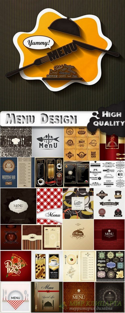 Menu Template design elements in vector by stock #3 - 25 Eps
