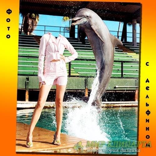 Шаблон для фотомонтажа - С веселым дельфином