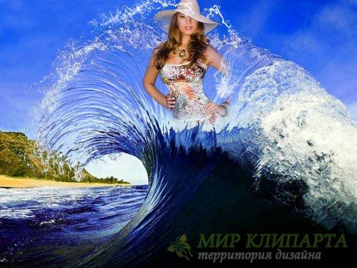 Фоторамка psd - Морская волна
