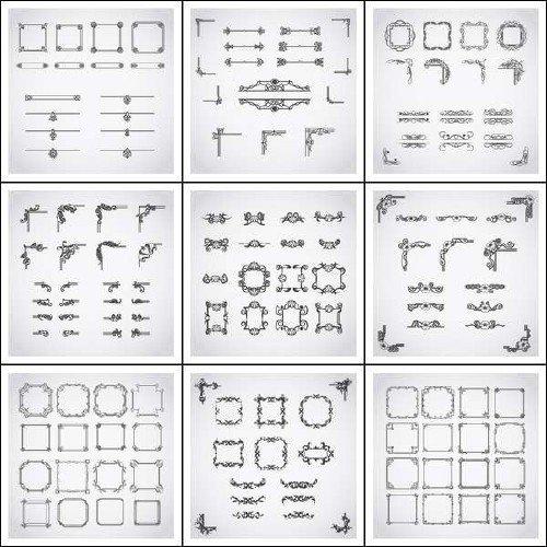 Каллиграфические узоры, рамки, декор в векторе
