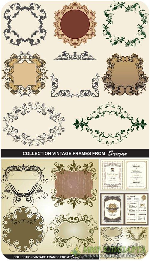 Винтажные рамки, декоративные элементы в векторе / Vintage frames, decorati ...