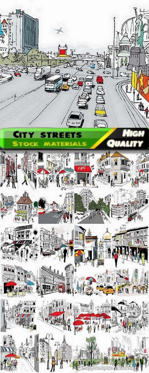 City streets and people in vector from stock - 25 Eps
