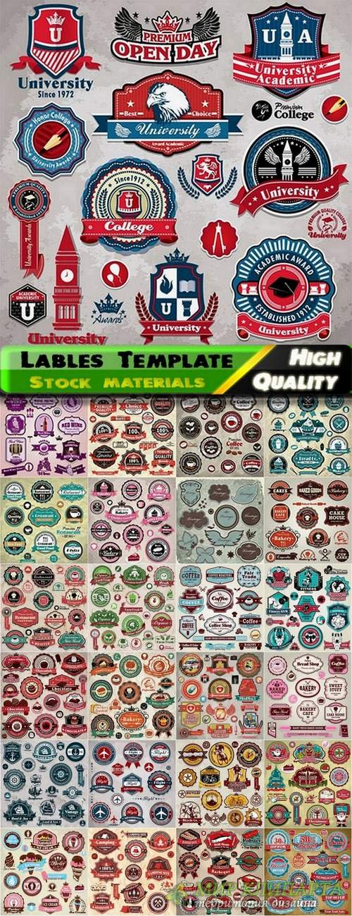 Lables Template design in Vector from Stock set #12 - 25 Eps