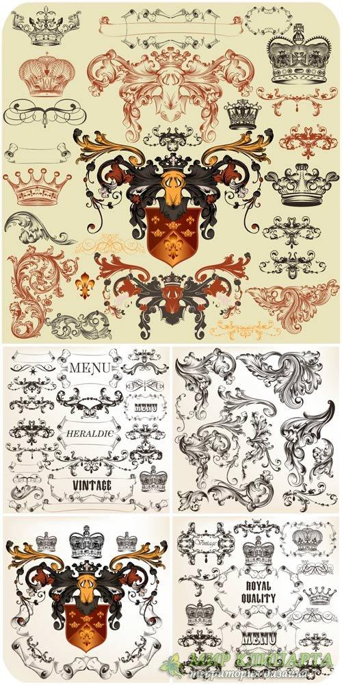Коллекция векторных геральдических элементов для дизайна, герб и щит / Coll ...