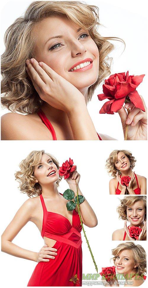 Девушка в красном платье с розой / Girl in a red dress with a rose - Stock  ...