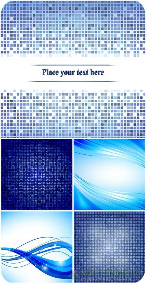 Синие векторные фоны с линиями и квадратами / Blue vector background with l ...