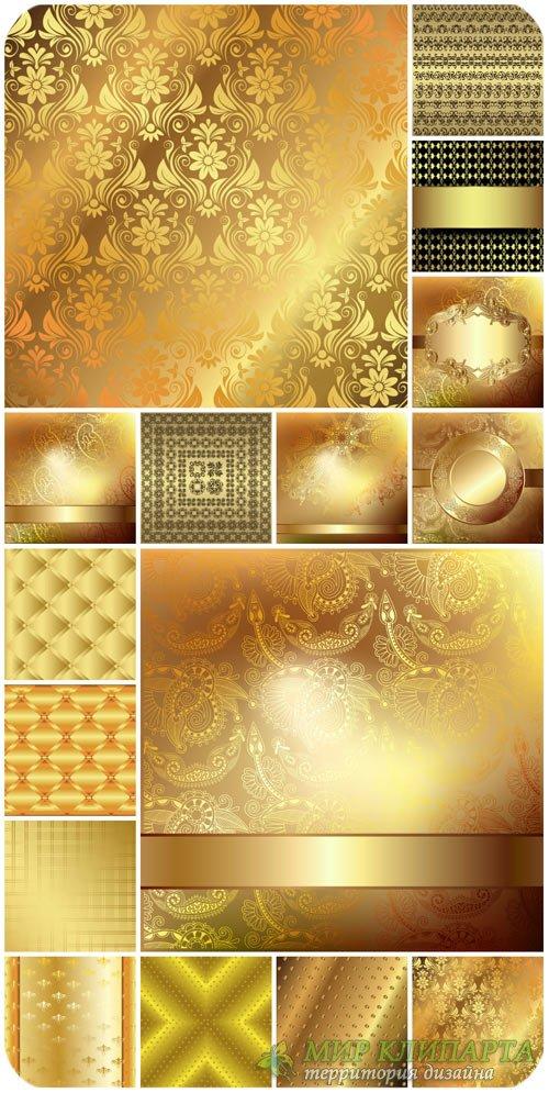 Золотые векторные фоны, винтажные узоры / Gold vector backgrounds, vintage  ...