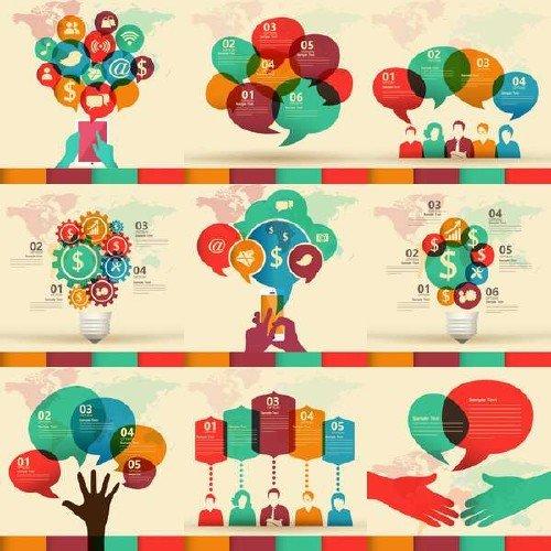 Векторные инфографики: коммуникации, транспортировка, политика