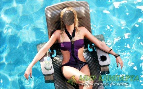 Шаблон для девушек - Блондинка с коктейлем в бассейне