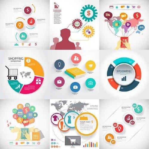 Набор векторной инфографики для торговли и бизнеса