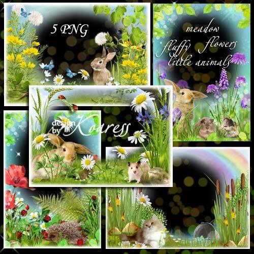 Набор детских png рамок для фотошопа - На поляне с пушистыми зверушками