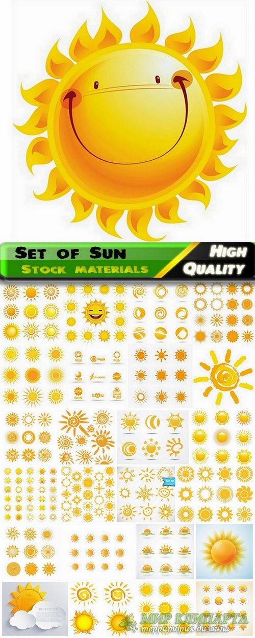 Set of Sun in vector from stock - 25 Eps