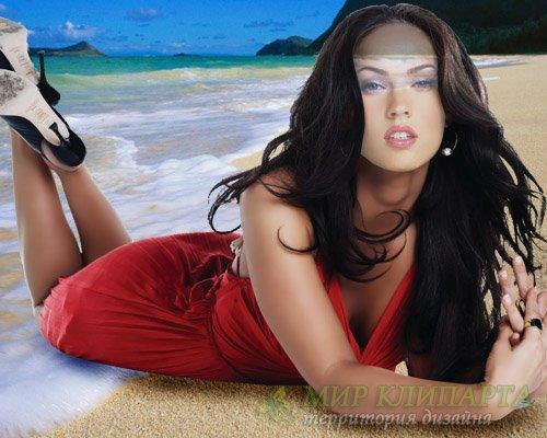 Шаблон женский - Девушка в платье у моря