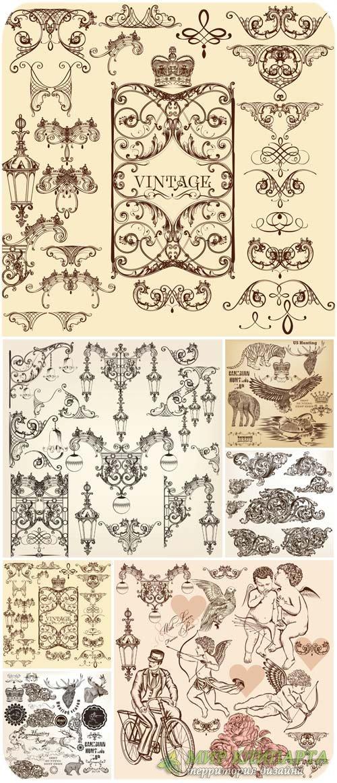 Декоративные элементы, винтажный векторный набор / Decorative elements, vin ...