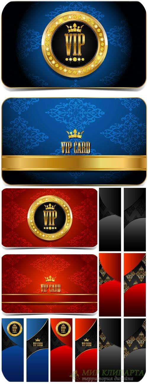 Вип карточки, синие и красные векторные баннеры / VIP cards, blue and red b ...