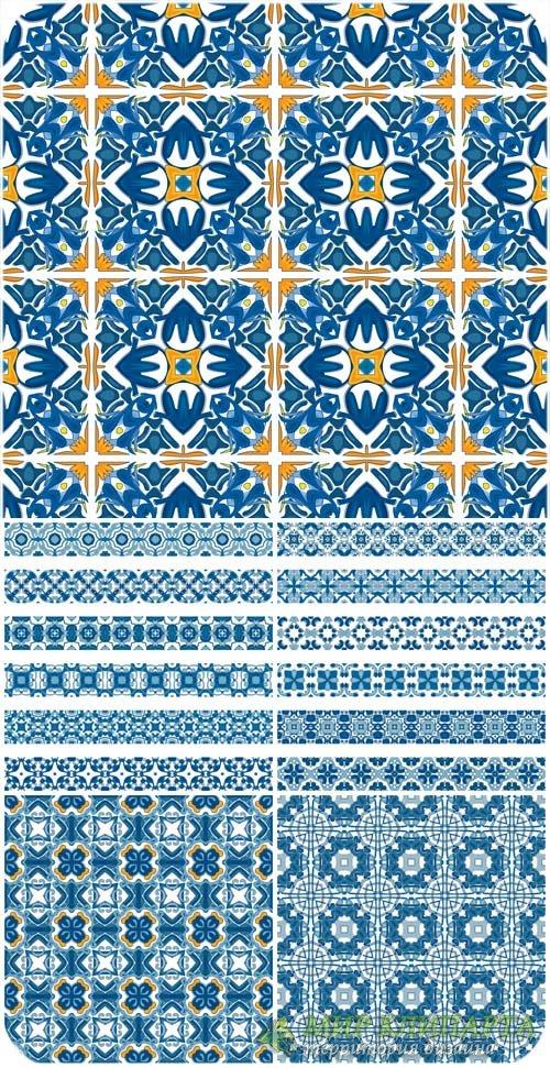 Синие узоры, бордюры в векторе / Blue patterns, borders vector