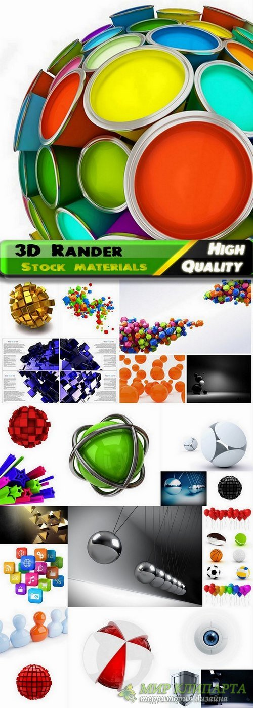Abstract Elements and 3D render objects - 25 HQ Jpg