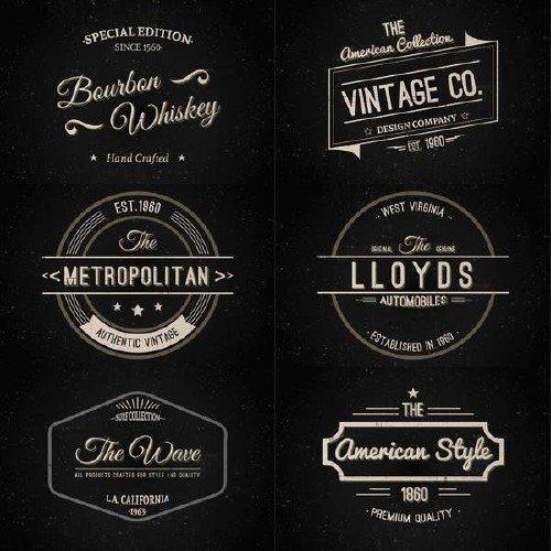 Ретро эмблемы, этикетки, штампы векторного формата