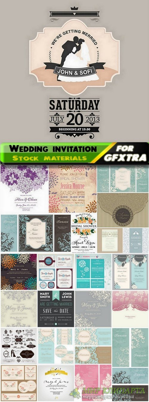 Template for Wedding invitation in vector from stock - 25 Eps