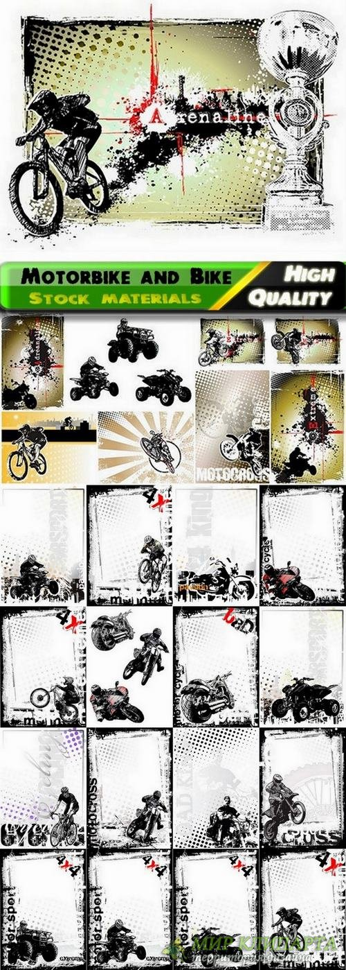 Grunge backgrounds with Motorbike and Bike - 25 Eps