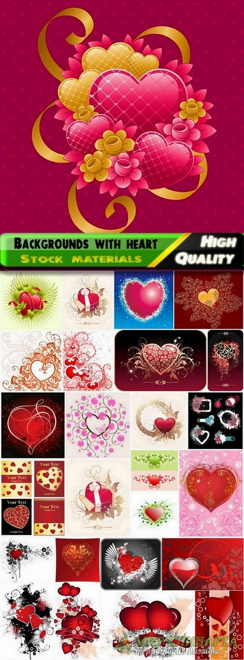 Abstract backgrounds with heart in vector from stock - 25 Eps