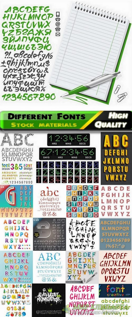 Different Fonts in vector from stock #3 - 23 Eps