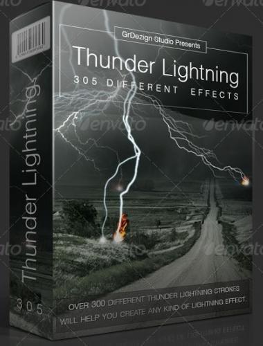 Эффекты: Вспышки молний / Thunder Lightning Effects (PNG, PSD)