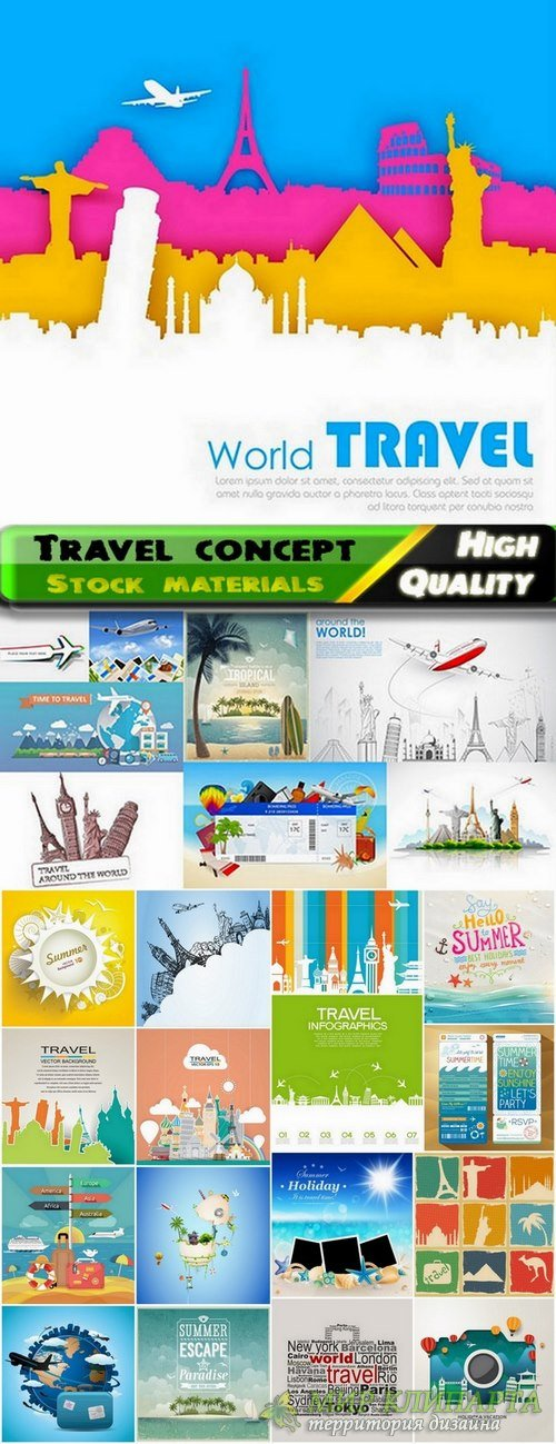 Travel concept Summer vacation in vector from stock - 25 Eps