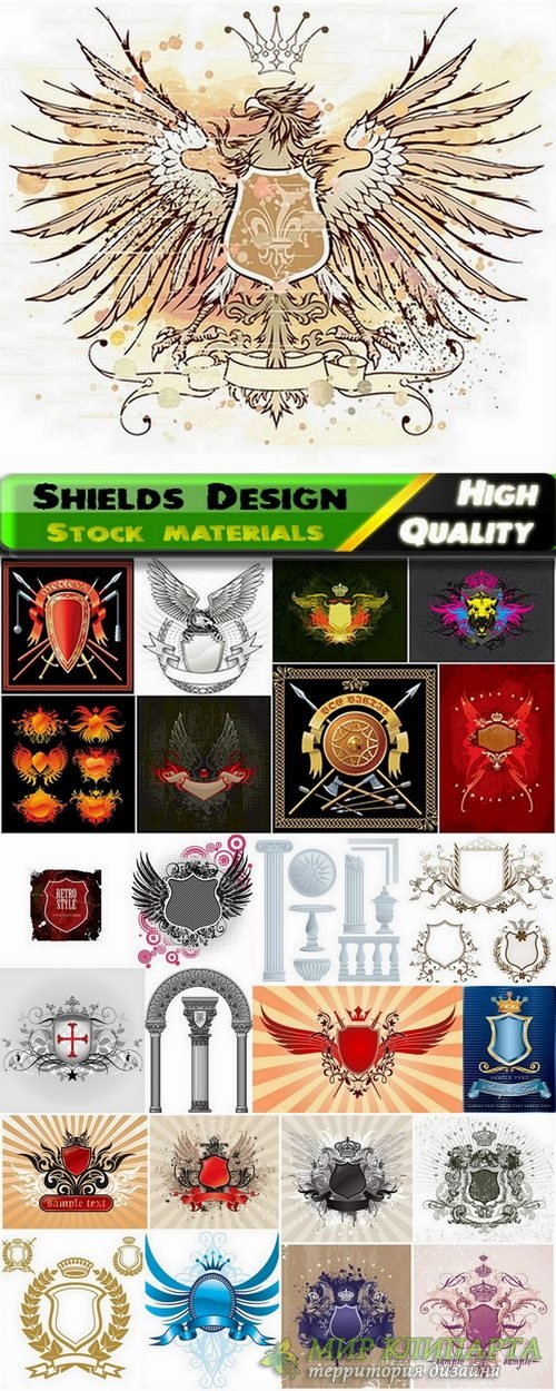 Shields Design in vector from stock - 25 Eps