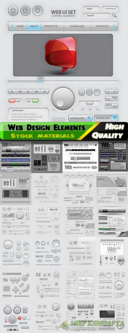 Web Design Elements in vector from stock - 25 Eps
