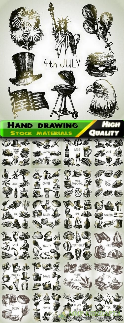 Set of Hand drawing illustration objects in vector from stock - 25 Eps