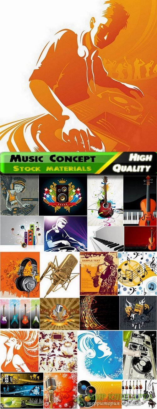 Musical Instruments and Music backgrounds in vector from stock - 25 Eps