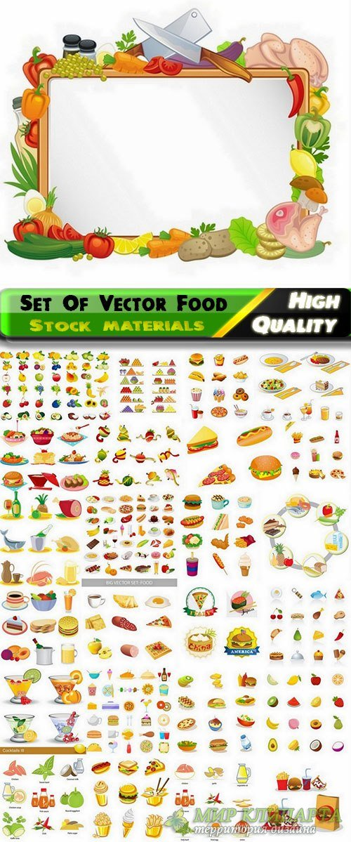 Different Set of vector food from stock - 20 Eps - 5 Svg