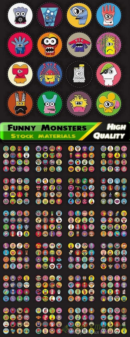 Funny Monsters in vector from stock - 25 Eps